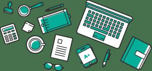 illustration un bureau numérique et des données